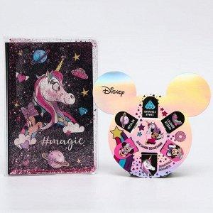 """Подарочный набор """"Минни с единорогом"""", Минни Маус (ежедневник с обложкой шейкер, магнитные закладки"""