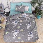 КПБ  Бязь   астронавты  1,5 спальный с простыней на резинке