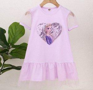 """Детское платье с оборками, принт из пайеток """"принцесса"""", цвет сиреневый"""