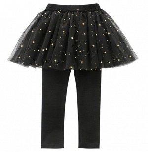 """Детские леггенсы-юбка, цвет черный, принт """"звезды"""""""