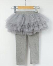 Детские леггенсы-юбка, цвет серый