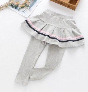"""Детские леггенсы-юбка, цвет серый, принт """"полосы"""""""