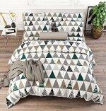 Комплект из Поплина 2 спальный с простыней на резинке Треугольники
