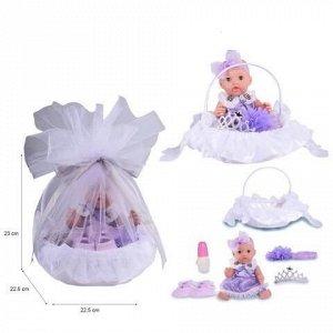 Пупс в корзинке, с аксессуарами, пьет и писает, цвет фиолетовый62