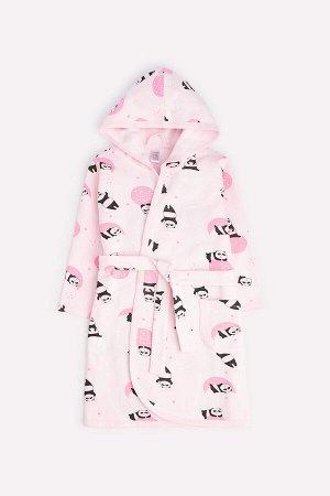 Халат для девочки Crockid К 5483 панды в космосе на нежно-розовом