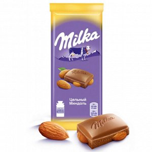"""Шоколад Милка молочный """"Цельный миндаль"""" 85г"""