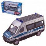Машинка-микроавтобус Junfa Полиция металлическая с открывающими дверцами, 16x6x9см225