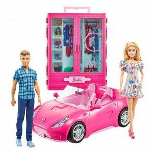 Игровой набор Mattel Barbie Барби и Кен с гардеробом и розовой машиной кабриолет2