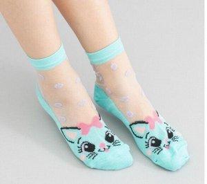 Детские носки с узором горошек и рисунком кошки