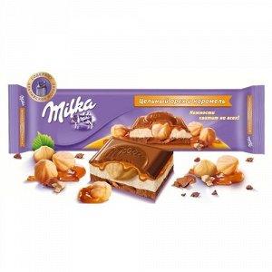 Шоколад Милка молочный с карам нач и обжар фунд 300г