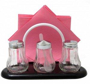 Набор для специй 3 предмета + салфетница стекло/нержавеющая сталь/пластик