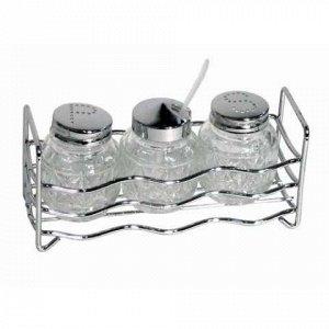 Набор для специй 3 предмета на подставке стекло/нержавеющая сталь