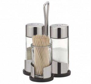 Набор для специй 3 предмета стекло/нержавеющая сталь/пластик