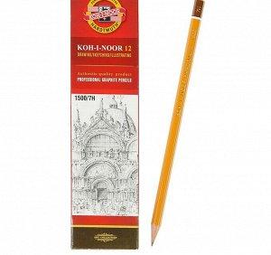 Карандаш чернографитный Koh-I-Noor 1500 7H, профессиональный, лакированный корпус