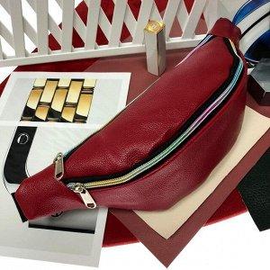 Поясная сумочка Mezalia из мягкой эко-кожи рубинового цвета.