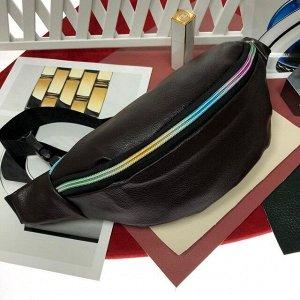 Поясная сумочка Mezalia из мягкой эко-кожи шоколадного цвета.