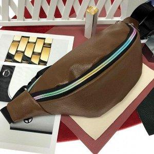 Поясная сумочка Mezalia из мягкой эко-кожи трюфельного цвета.
