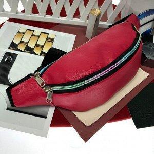 Поясная сумочка Mezalia из мягкой эко-кожи малинового цвета.