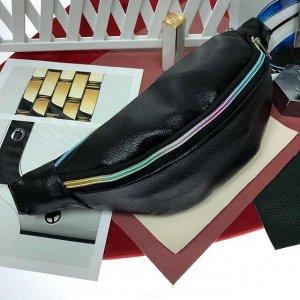 Поясная сумочка Mezalia из мягкой эко-кожи чёрного цвета.