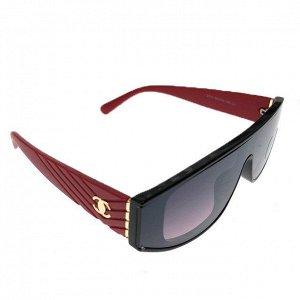 Классические женские очки Alur_Mua в тёмной оправе с красными дужками.