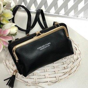 Театральная сумочка с кармашком на застёжке-поцелуйчике Mex_Milano чёрного цвета.