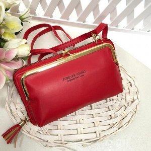 Театральная сумочка с кармашком на застёжке-поцелуйчике Mex_Milano красно-клубничного цвета.