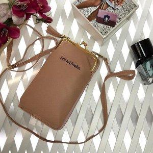 Эргономичная сумочка с кармашком на застёжке-поцелуйчике Maex персикового цвета.