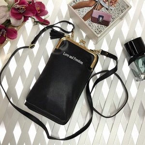 Эргономичная сумочка с кармашком на застёжке-поцелуйчике Maex чёрного цвета.