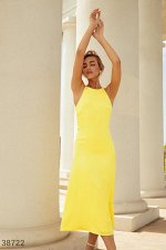 Желтое шелковое платье-миди