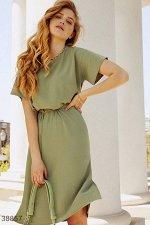 Оливковое платье с поясом