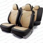 Чехлы AUTOPROFI LINEN, для передних и задних сидений, лён крупного плетения, чёрный/бежевый цвет, 15 предметов