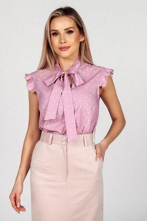 Блузка Раифа №2.Цвет:розовый/горох