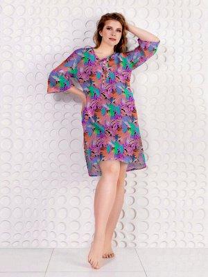 Пляжное платье-туника из принтованного вискозного полотна