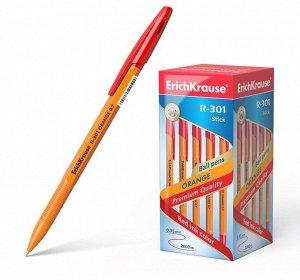 Ручка шариковая Erich Krause R-301 Orange Stick, узел 0.7 мм, чернила красные, длина линии письма 2000 метров, штрихкод на ручке