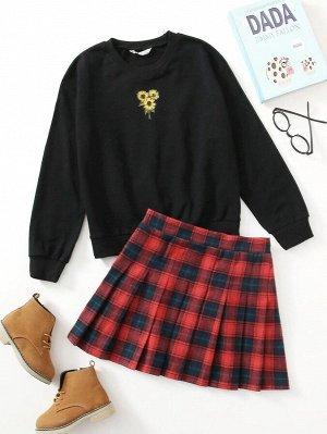 Пуловер с вышивкой подсолнуха и юбка в клетку для девочек