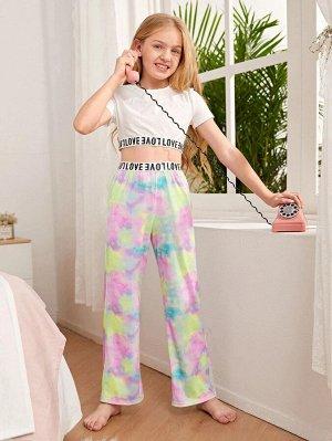 Лента тай дай Повседневный Домашняя одежда для девочек