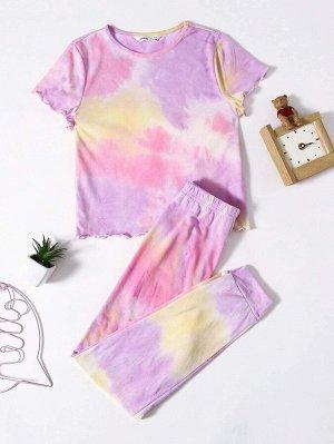 Пижама с принтом тай-дай для девочек