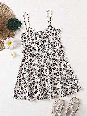 Платье на бретелях с цветочным принтом для девочек