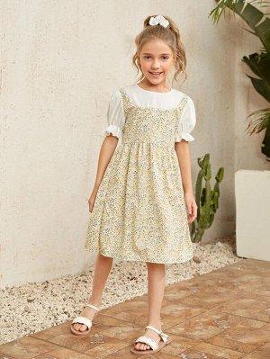 Контрастное 2 в 1 платье с цветочным принтом для девочек