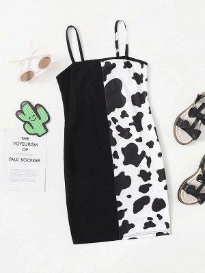 Платье с коровьим принтом для девочек