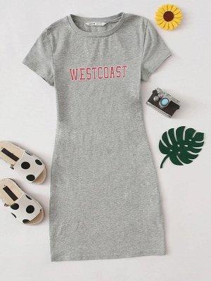 Облегающее платье с текстовым принтом для девочек