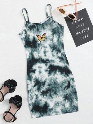Платье с принтом бабочки и тай дай для девочек