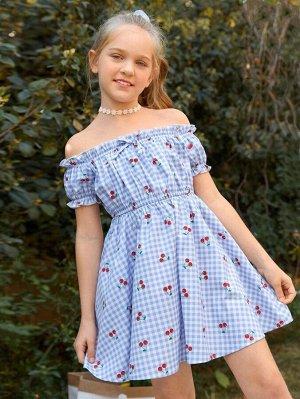 Платье в клетку с открытыми плечами и принтом 'вишня' для девочек