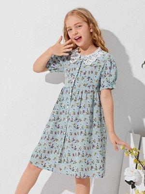 Гипюровое кружевное платье с цветочным принтом для девочек