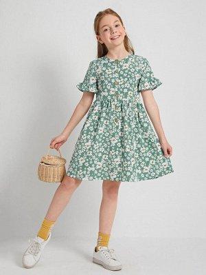 Платье с цветочным принтом и пуговицами для девочек