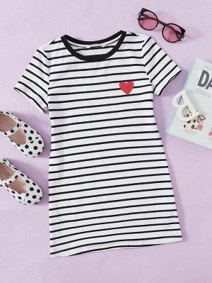 Платье в полоску с принтом 'сердце' для девочек