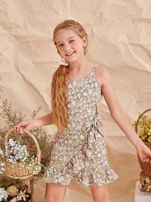 Платье с цветочным принтом для девочек с запахом