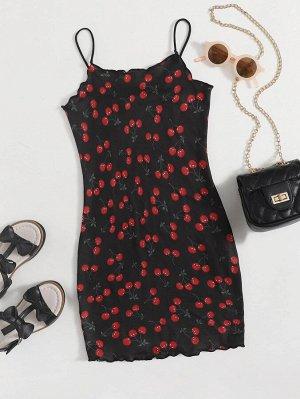 Платье с принтом вишни для девочек
