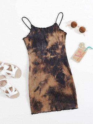 Трикотажное платье с принтом тай-дай для девочек