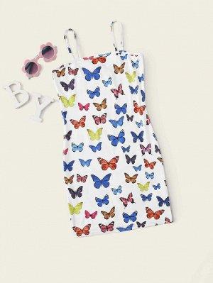 Платье с принтом бабочки для девочек